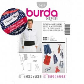 Patron Homme Cousu Main Gilet & Accessoires Burda n°3403 - Saison 2