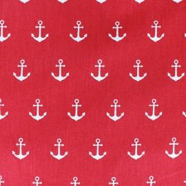 Tissu coton Ancres - rouge x 10cm