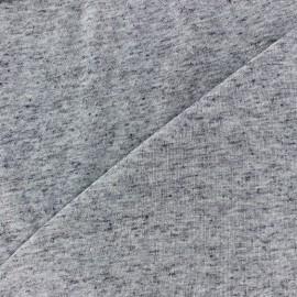 Tissu Maille légère lin pailleté - bleu gris x 10cm