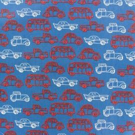 Tissu coton Poppy Groovy Oldtimers - bleu x 10cm
