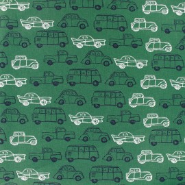 Tissu coton Poppy Groovy Oldtimers - vert x 10cm