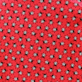Tissu coton Poppy Insect Party - rouge x 10cm