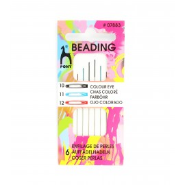 Assorted Beading needles - coloured eye