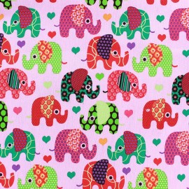 Stretch denim fabric Happy Elephant - pink x 10cm