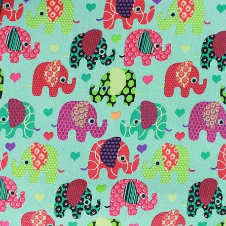 Stretch denim fabric Happy Elephant - azure x 10cm