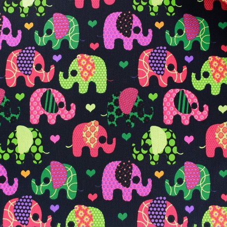 Stretch denim fabric Happy Elephant - navy x 10cm