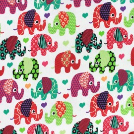 Tissu Jeans stretch Happy Elephant - écru x 10cm