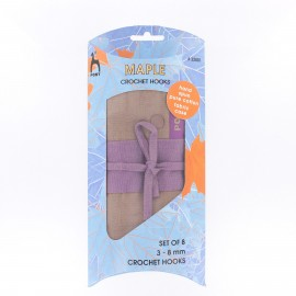 ♥ Set of 8 maple hooks with pure cotton fabric case ♥