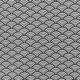 Cretonne Cotton Fabric Sushis - anthracite x 10cm