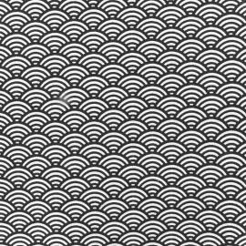 Tissu coton cretonne Sushis anthracite x 10cm