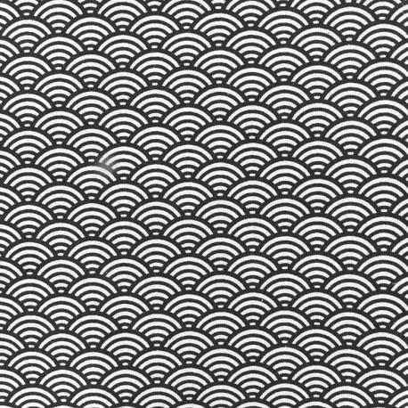 Tissu coton cretonne Suchis anthracite x 10cm