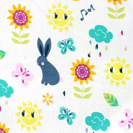Tissu coton Qjutie Kids Spring - blanc x 10cm