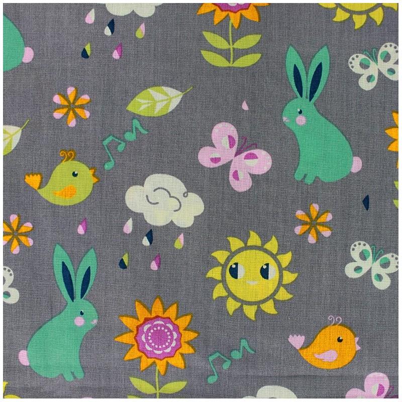 Tissus pas cher 100 coton tissu coton qjutie kids for Grey childrens fabric