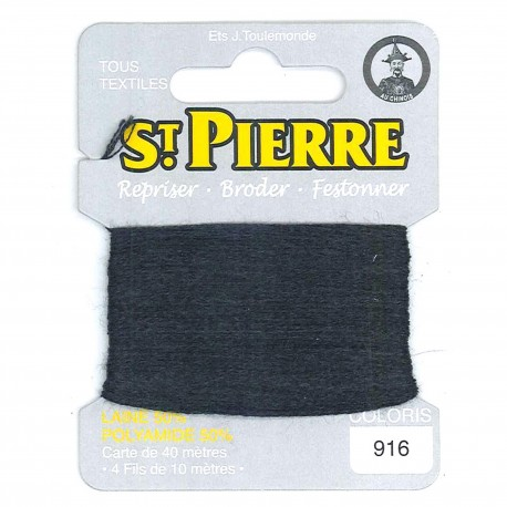 Laine Saint Pierre 40 M card Darning / embroidery - 916 Anthracite grey