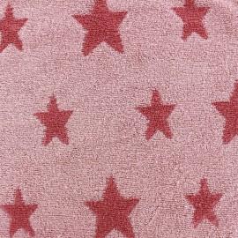 Tissu velours éponge coton Stars  rose/rose clair x 10cm