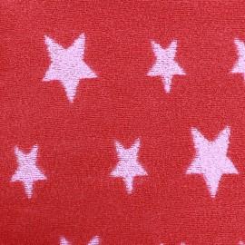 Tissu éponge jersey coton Stars rose/rouge x 10cm