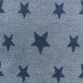 Tissu velours éponge coton Stars bleu/bleu pastel x 10cm