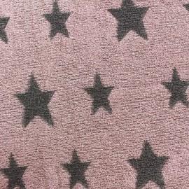 Tissu velours éponge coton Stars gris/rose x 10cm