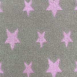Tissu velours éponge coton Stars rose/gris x 10cm
