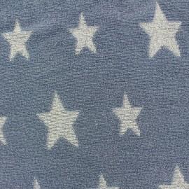 Tissu velours éponge coton Stars blanc/bleu pastel x 10cm