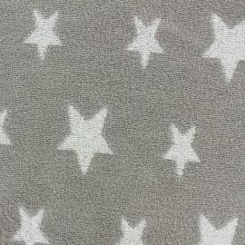 Tissu velours éponge coton Stars blanc/taupe x 10cm