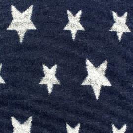 Tissu velours éponge coton Stars blanc/marine x 10cm