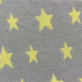 Tissu velours éponge coton Stars jaune/taupe x 10cm