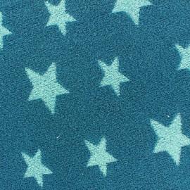 Tissu velours éponge coton Stars turquoise/bleu canard x 10cm