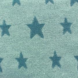 Tissu velours éponge coton Stars bleu canard/iceberg x 10cm