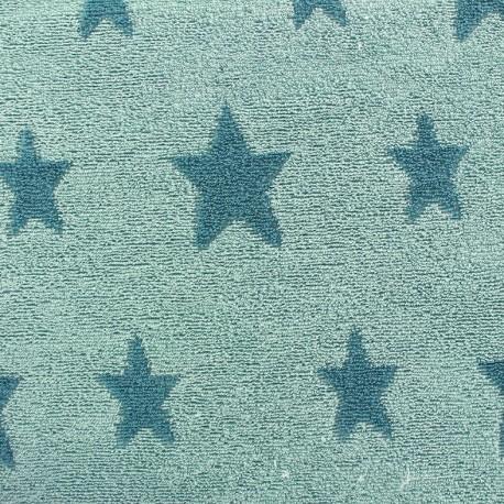 Tissu ponge jersey coton stars bleu canard iceberg x 10cm ma petite mercerie - Tissu velours bleu canard ...