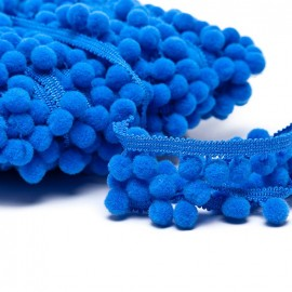 Medium pompom braid trimming - royal blue x 1m