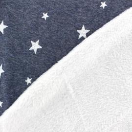 Tissu sweat envers minkee denim/blanc étoiles pailletées blanches x 10cm