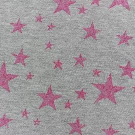Tissu jogging Etoile Glitter - fuchsia x 10cm