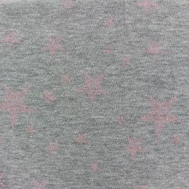 Tissu sweat léger Etoile Glitter - rose x 10cm