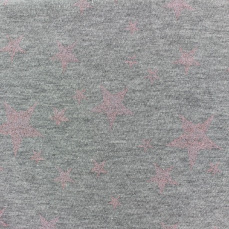 Jogging fabric Etoile Glitter - pink x 10cm