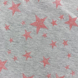 Tissu sweat léger Etoile Glitter - corail x 10cm