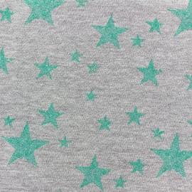 Tissu sweat léger Etoile Glitter - vert clair x 10cm