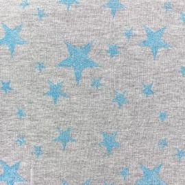 Tissu sweat léger Etoile Glitter - bleu azur x 10cm