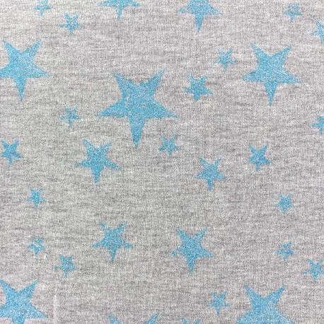 Jogging fabric Etoile Glitter - azure x 10cm