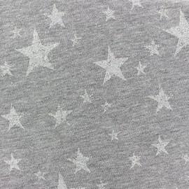 Tissu jogging Etoile Glitter - blanc x 10cm