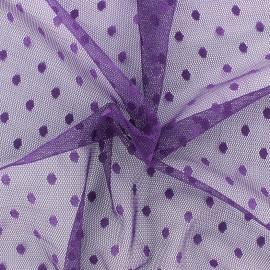 Tulle Bran Point d'esprit - violet x10cm
