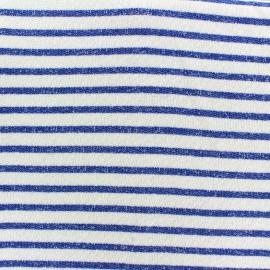 Tissu jogging Marinière - bleu x 10cm