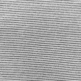 Tissu sweat léger petite Marinière - noir x 10cm