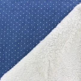 Tissu Jeans envers mouton Mini pois - bleu x 10cm