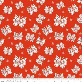 Tissu Double gaze de coton Flutter coral x 10 cm