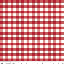 Tissu double gaze de coton Gingham Red x 10 cm