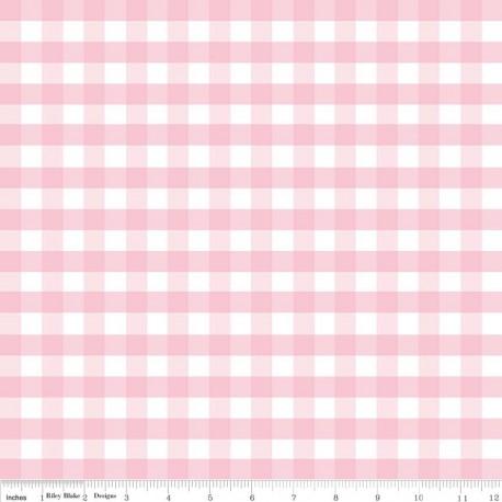 Tissu double gaze de coton Gingham Pink x 10 cm