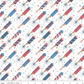 Tissu Parade Rockets White x 10cm