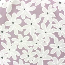 Tissu mousseline Marguerite - parme x 20 cm