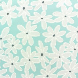 Tissu mousseline Marguerite - opaline x 20 cm